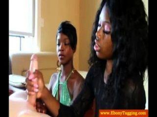 Zwei Schwarze Ebonies Rucken Schwanz