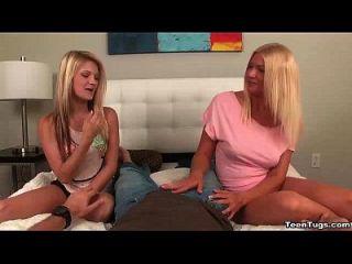 Teen Mama Und Tochter Tag Team Handjob