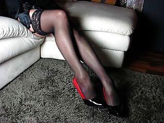 Perfekte Beine Und High Heels Und Schuhe Und Körper Frau