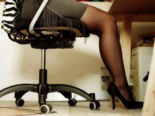Lange Beine Und Füße Und High Heels Büro Mädchen