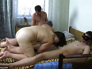 Oldnanny Gruppen-sex, Mollig Oma Und Fett Reifen Sind Geil