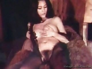 Retro Lesbische Dreier Vintage Video.