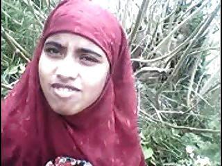 Desi Bangla Muslim Hijab Schönheit Im Wald