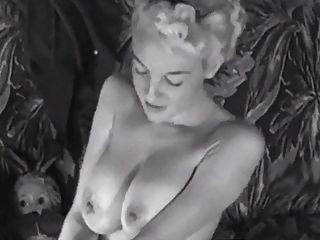 Couch Streifen Jahrgang Große Brüste Blonde Necken 50er Jahre Fersen