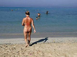 Orange Tanga G-string Sexy Micro Bikini öffentlichen Strand Milf